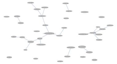 Mapa que muestra a los artistas cuyo trabajo se relaciona con el arte social. Las líneas azules son las conexiones originales entre artistas.
