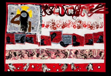 Teresa Margolles with the participation of Michelle Bishop, Sahara Briscoe, Laura R. Gadson, and Jerry Gant, american Juju for the Tapestry of Truth, 2015. Mixed media and embroidered fabric, 66 x 98 inches. Courtesy of Teresa Margolles and Peter Kilchmann. Photo: Jim Frank.