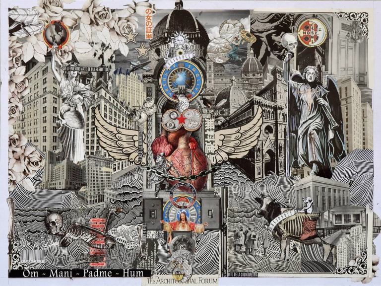 "Ernesto Muñiz, ""Flood"", de la serie The Heart of three cities, 2015, Collage, 80 x 60 cm. Imagen cortesía del artista."