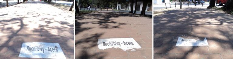 """Marilyn Elany Boror Bor, """"Para no olvidar sus nombres"""", 2013, Intervención urbana, Ciudad de Guatemala, Guatemala. Imagen cortesía de la artista."""