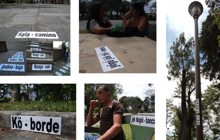 """Marilyn Elany Boror Bor, """"Para no olvidar sus nombres"""", 2012, Intervención urbana, Festival Internacional de las Artes, San José, Costa Rica. Imagen cortesía de la artista."""