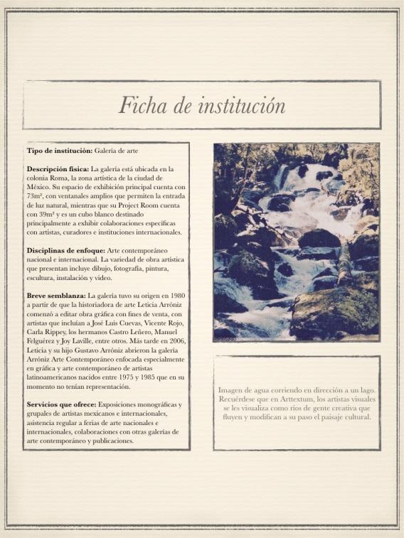 Ficha informativa de la galería Arróniz Arte Contemporáneo